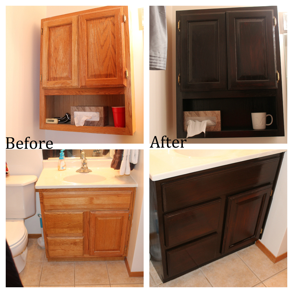 Staining Oak Bathroom Cabinets | No Regrets Living