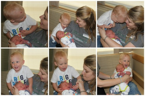 Stephen meeting Sammy for the first time in the hospital.  (With my sister Tiffany)